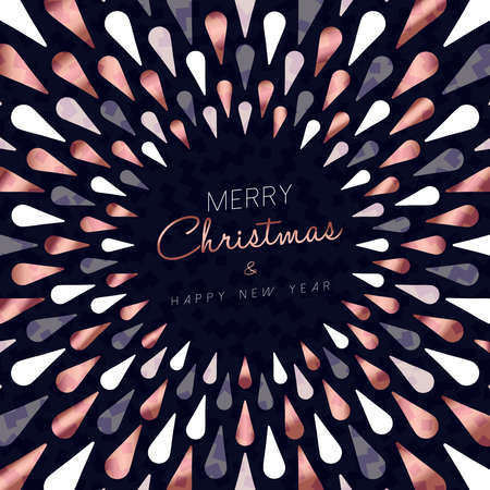 Merry Christmas and happy new year modern abstract style design in copper color for holiday season. Ilustrace