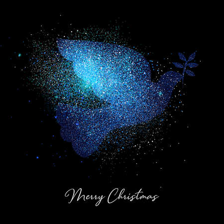 Merry Christmas blue bird luxury greeting card design. Dove made of metallic glitter dust on black background. Stock Illustratie