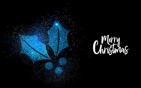 Merry Christmas luxury greeting card design, blue holly leaf shape made of glitter dust on black background.