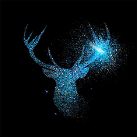 Blue deer luxury holiday greeting card design. Reindeer made of metallic glitter dust on black background.