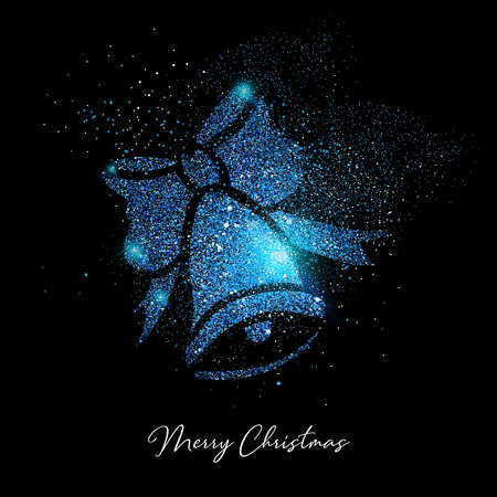 Merry Christmas luxury greeting card design, blue bell ornament shape made of glitter dust on black background.
