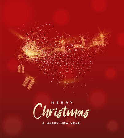 Christmas and New Year luxury greeting card illustration, santa claus made of gold glitter texture on festive red background with holiday text quote. Illustration