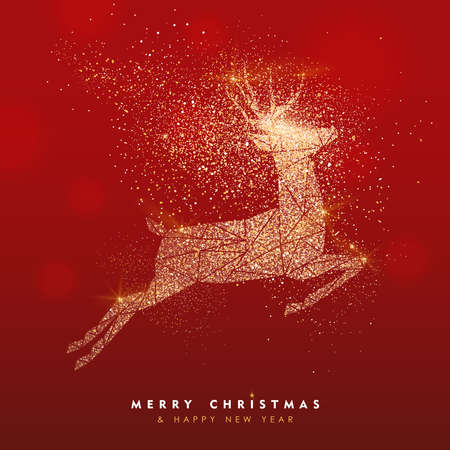 Merry Christmas and Happy New Year luxury greeting card illustration, xmas jumping reindeer in gold glitter texture on festive red bokhe lights background with holiday text quote.