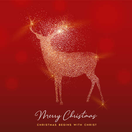 Merry Christmas luxury greeting card illustration, reindeer made of gold glitter texture on festive red background with holiday text quote. Ilustrace