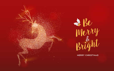 Merry Christmas luxury greeting card illustration, reindeer made of gold glitter texture on festive red background with holiday text quote.  イラスト・ベクター素材