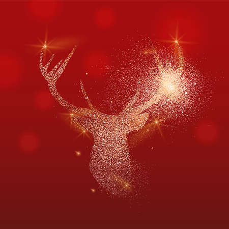 Gold glitter deer head illustration, reindeer stag made of golden texture on festive red background with copy space for christmas greeting card. Banque d'images - 112410003