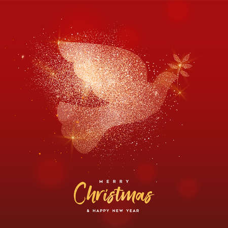 Merry Christmas and Happy New Year luxury greeting card illustration, dove bird in gold glitter texture on festive red bokhe lights background with holiday text quote.