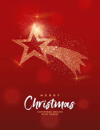 Merry Christmas luxury greeting card illustration, golden star made of gold glitter texture on festive red background with holiday text quote. Ilustrace