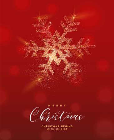 Merry Christmas luxe wenskaart illustratie, sneeuwvlok gemaakt van gouden glitter textuur op feestelijke rode achtergrond met vakantie tekst offerte. Vector Illustratie