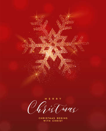 Merry Christmas luxury greeting card illustration, snowflake made of gold glitter texture on festive red background with holiday text quote.