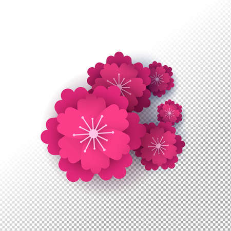 Pink papercut flowers on transparent background. Isolated flower shapes made of layered paper, romantic ornament elements or nature decoration.