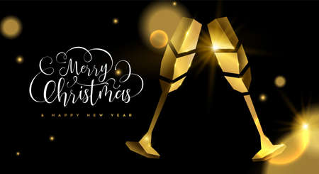 Merry Christmas Happy New Year luxury greeting card illustration, realistic 3d solid gold champagne toast on black background with festive typography quote and blur lights.
