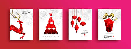 Red Merry Christmas greeting card set. Xmas pine tree reindeer and gift box illustration in low poly style on sky fireworks background. Illustration