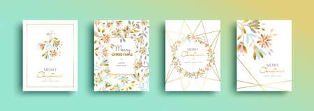 Merry Christmas and happy new year gold greeting card set. Floral decoration for xmas season nature illustration. 스톡 콘텐츠 - 113023499