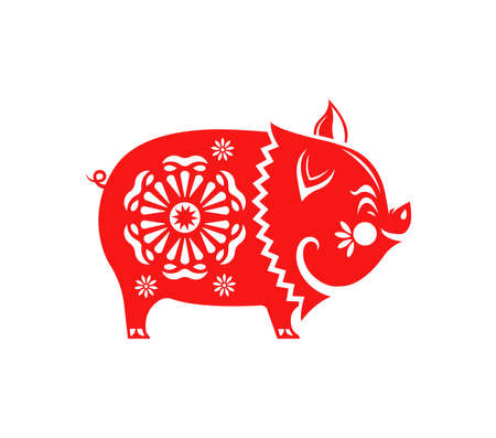 Chinese New Year of the pig 2019, traditional asian paper cut illustration. Cute red hog with plum blossom flowers isolated for special event. Illustration