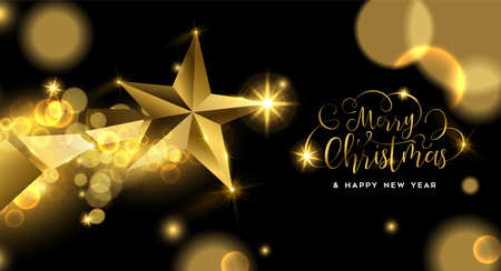 Merry Christmas luxury golden greeting card illustration, star ornament made of solid gold in 3d style.