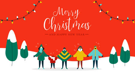 Merry Christmas and Happy New Year illustration of diverse people group singing xmas carols songs in snow landscape. Flat style xmas holiday red background design for winter season. Stock Vector - 112675810