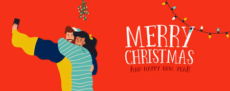 Merry Christmas and Happy New Year web banner illustration, millennial couple taking selfie under mistletoe branch tree. Young people posting special moment on social media.