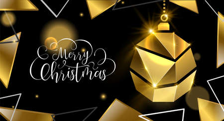 Merry Christmas luxury golden greeting card illustration, xmas bauble ornament made of solid gold in 3d style. Illustration