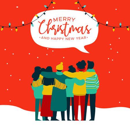 Illustrazione della cartolina d'auguri di buon Natale e felice anno nuovo del gruppo di amici dei giovani che si abbracciano insieme alla festa di Natale. Celebrazione della squadra di amici di cultura diversificata.