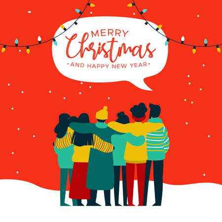 Merry Christmas and Happy New Year greeting card illustration of young people friend group hugging together at xmas holiday party. Diverse culture friends team celebrating. Standard-Bild - 113543177