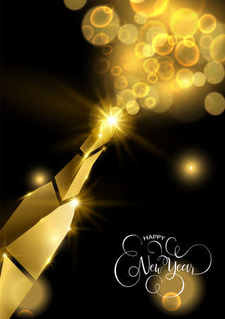 New Year luxury golden greeting card illustration, champagne bottle splash made of solid gold in 3d style.