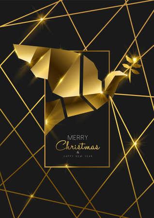 Frohe Weihnachten und ein glückliches neues Jahr luxuriöse goldene Grußkartenillustration, Friedenstaubenverzierung aus massivem Gold im 3D-Art-Deco-Stil.