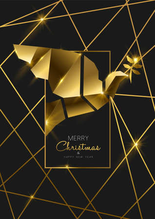 Merry Christmas and Happy New Year luxury golden greeting card illustration, peace dove ornament made of solid gold in 3d art deco style. Illustration