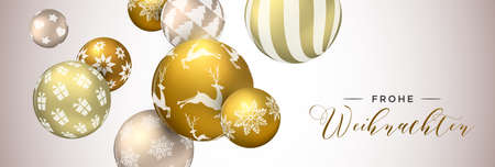 Merry Christmas web banner in german language, gold xmas bauble ornaments background for invitation or greeting card.