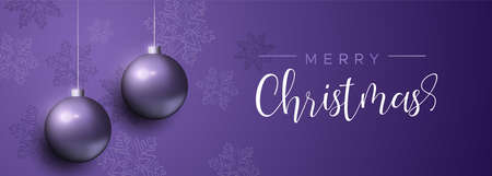 Merry Christmas banner with purple xmas bauble ornaments and snowflake decoration. Luxury holiday balls background for invitation or seasons greeting.