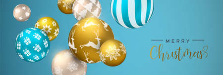 Merry Christmas web banner, gold and blue xmas bauble ornaments. Luxury holiday balls background for invitation or seasons greeting.