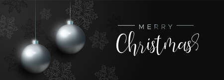 Merry Christmas banner with black xmas bauble ornaments and snowflake decoration. Luxury holiday balls background for invitation or seasons greeting. Illustration