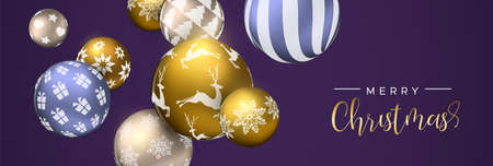 Merry Christmas web banner, gold and purple xmas bauble ornaments. Luxury holiday balls background for invitation or seasons greeting.