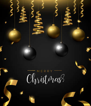 Merry Christmas card, gold and black xmas bauble ornaments. Luxury holiday balls background for invitation or seasons greeting.