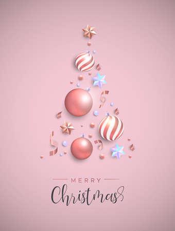 Cartolina di buon Natale. Ornamenti di palline di Natale rosa, stelle iridescenti e coriandoli a forma di albero di pino. Layout di vacanza di lusso per invito o auguri di stagioni.