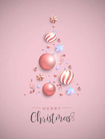 Merry Christmas card. Pink xmas bauble ornaments, iridescent stars and confetti making pine tree shape. Luxury holiday layout for invitation or seasons greeting.