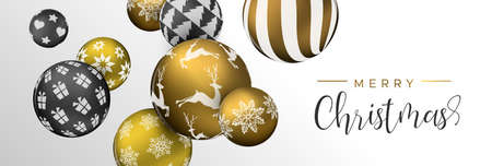 Merry Christmas web banner, gold and black xmas bauble ornaments. Luxury holiday balls background for invitation or seasons greeting.