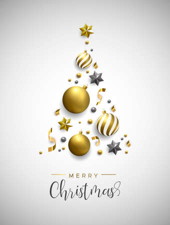 Merry Christmas card. Gold xmas bauble ornaments, stars and confetti making pine tree shape background. Luxury holiday layout for invitation or seasons greeting.
