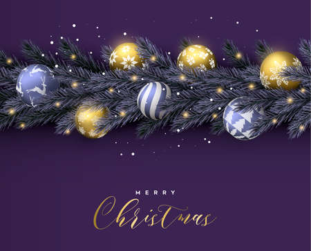 Merry Christmas Happy New Year purple card. Realistic pine tree wreath garland with gold xmas ornament balls for luxury holiday invitation or seasons greeting.