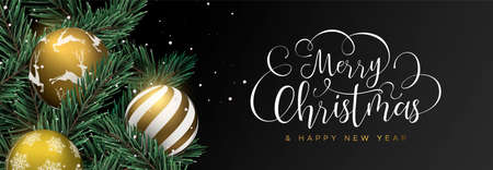 Merry Christmas Happy New Year web banner. Gold xmas bauble ornaments and realistic pine tree on black background. Luxury holiday design for invitation or seasons greeting. Illustration