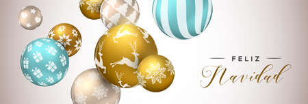 Merry Christmas web banner in spanish language, gold xmas bauble ornaments background for invitation or greeting card.