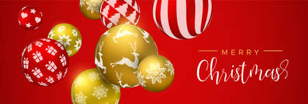 Merry Christmas web banner, gold and red xmas bauble ornaments. Luxury holiday balls background for invitation or seasons greeting.