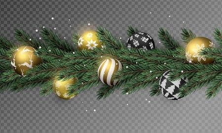 Ghirlanda realistica di ghirlanda di pino di Natale con palline di ornamento di Natale d'oro su sfondo trasparente.