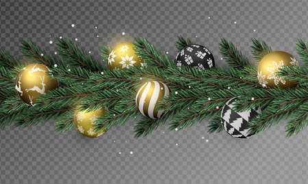 Realistic Christmas pine tree wreath garland with gold xmas ornament balls on transparent background.