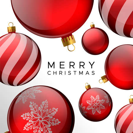 Merry Christmas card, red bauble ornament holiday background for invitation or seasons greeting.