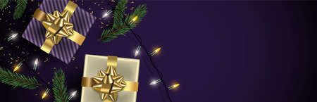 Christmas web banner background. Gold realistic gift box elements, xmas lights and winter pine tree leaf on purple backdrop Luxury holiday copy space illustration. Иллюстрация