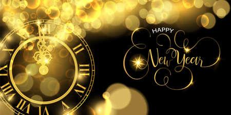 Happy New Year luxury golden web banner illustration, clock marking midnight time on black background.