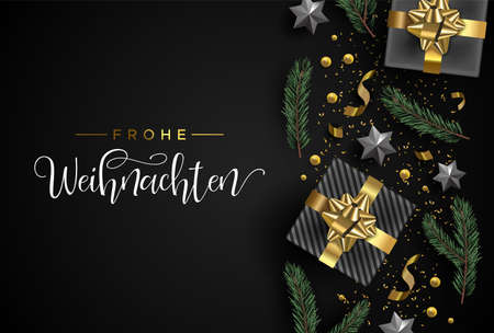 Merry Christmas card in german language. Gold realistic gift box elements, confetti, stars and pine tree leaf on black background. Luxury holiday layout illustration. Illustration