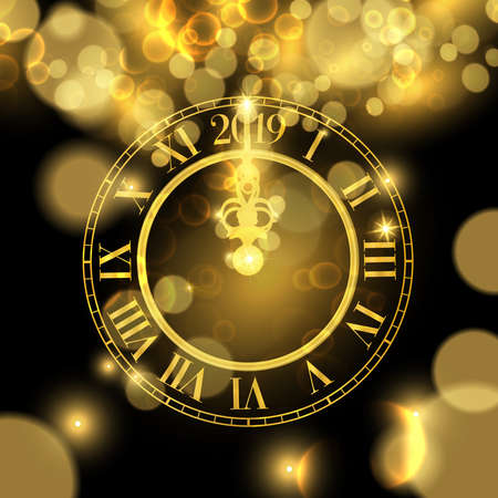 Happy New Year luxury golden web banner illustration, clock marking 2019 number on black background.