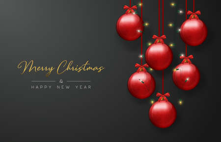 Merry Christmas and Happy New Year luxury greeting card, realistic red bauble ornaments with xmas lights on black background.